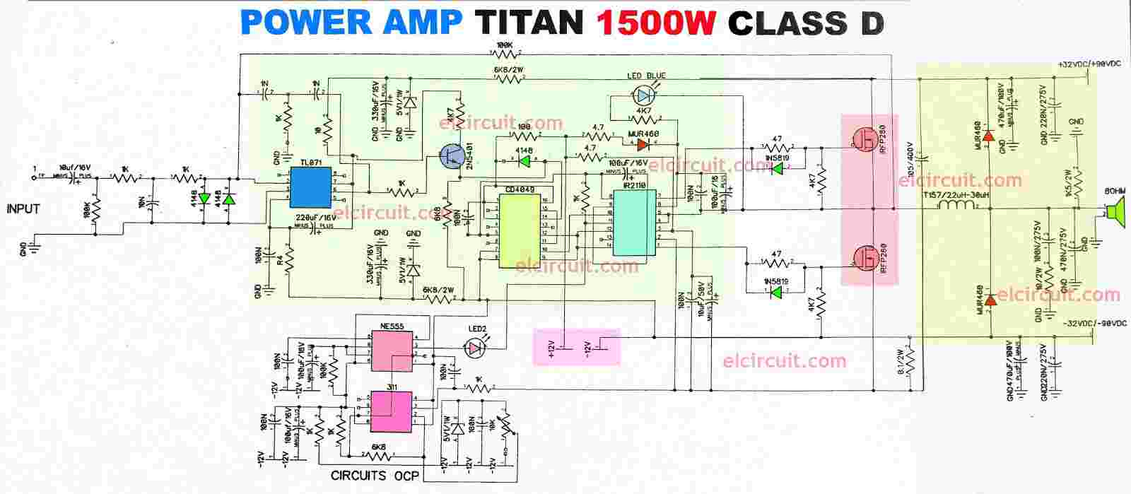 Power Amplifier 1500W Class D IR2110 CD4049 - Electronic Circuit