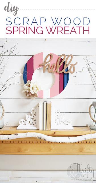 DIY scrap wood wreath. DIY spring wreath. Reclaimed wood wreath. DIY spring decor and decorating ideas.