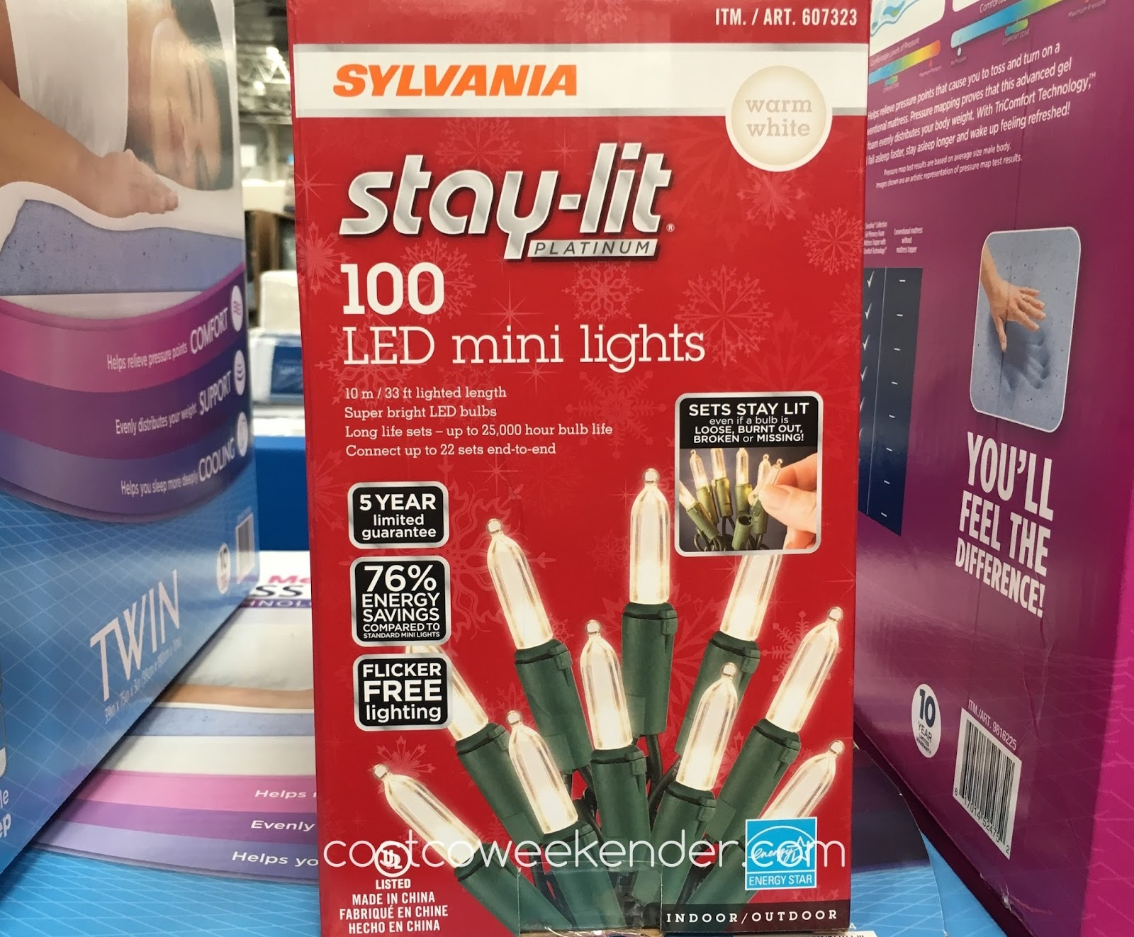 Sylvania Stay-lit 100 LED Mini Lights - Sets stay lit even if a bulb is loose, burnt out, broken or missing