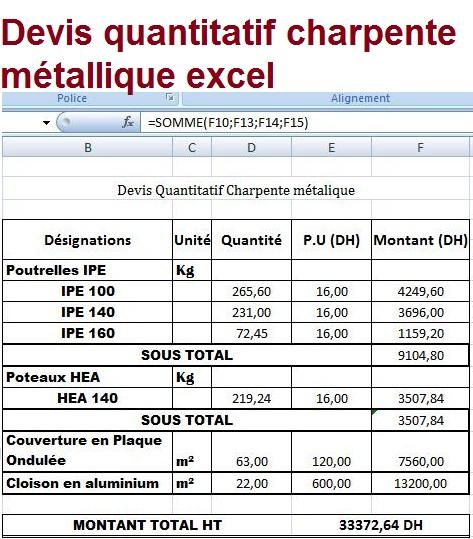 Devis quantitatif charpente m tallique excel outils for Prix d une charpente metallique