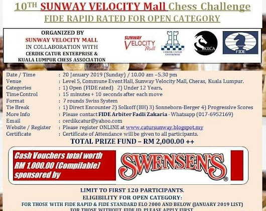 10th Sunway Velocity Mall Chess Challenge (20 January 2019)