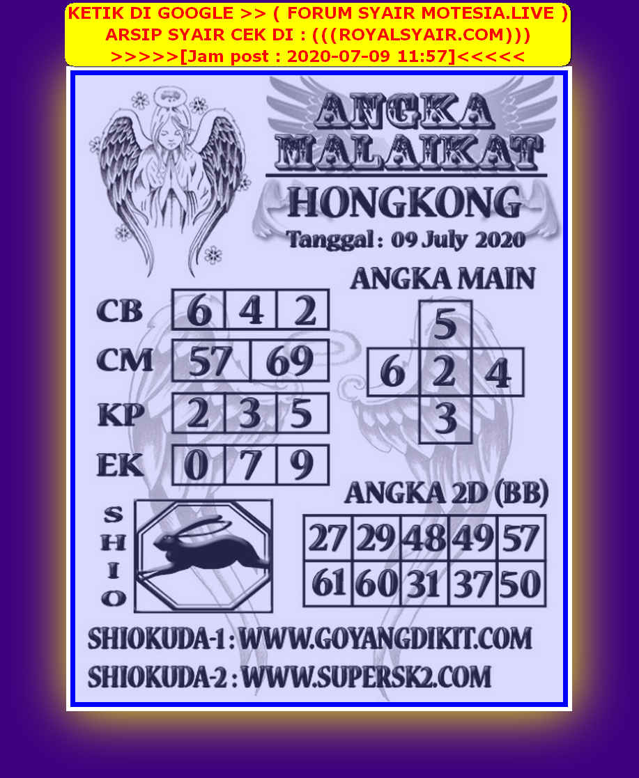 Kode syair Hongkong Kamis 9 Juli 2020 289