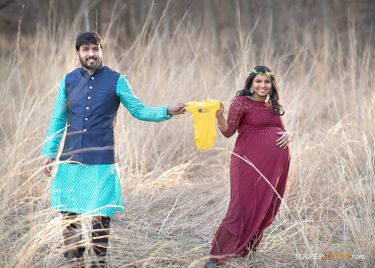 Indian Maternity Photography Outdoors in Nichols Arboretum by SudeepStudio.com Ann Arbor Maternity Portrait Photographer