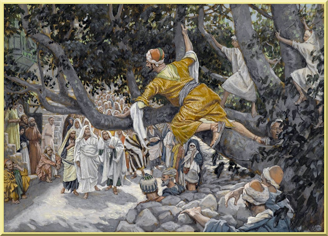 """""""Zacchaeus in the Sycamore Awaiting the Passage of Jesus"""" -- by James Tissot - PD-1923"""