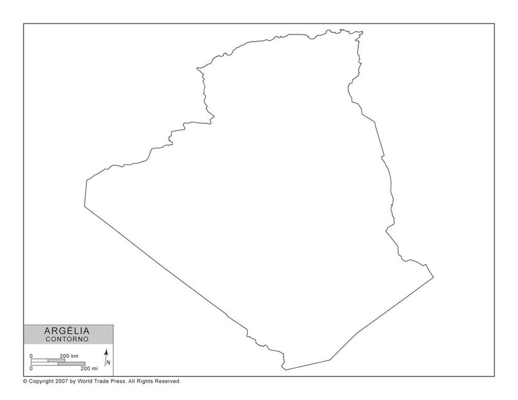 Mapa da Argélia com Contorno