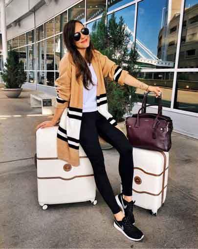 aerolook legging preta, cardigan e tênis