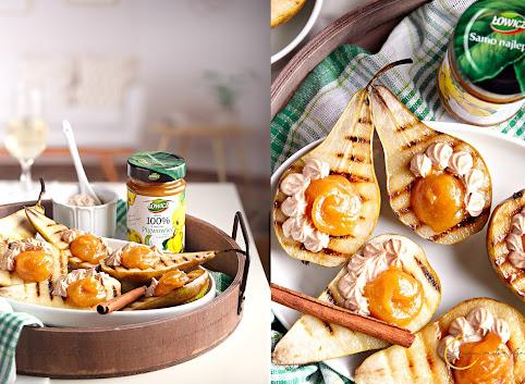 Gruszki nadziewane dżemem Łowicz 100% owoców Pigwowiec z acerolą i cynamonowym serkiem mascarpone