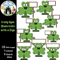 Crazy Eyes Shamrocks with a Sign Clip Art