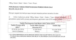 Thumbnail image for Tarikh Gaji Bulan Julai 2018 Penjawat Awam Diawalkan