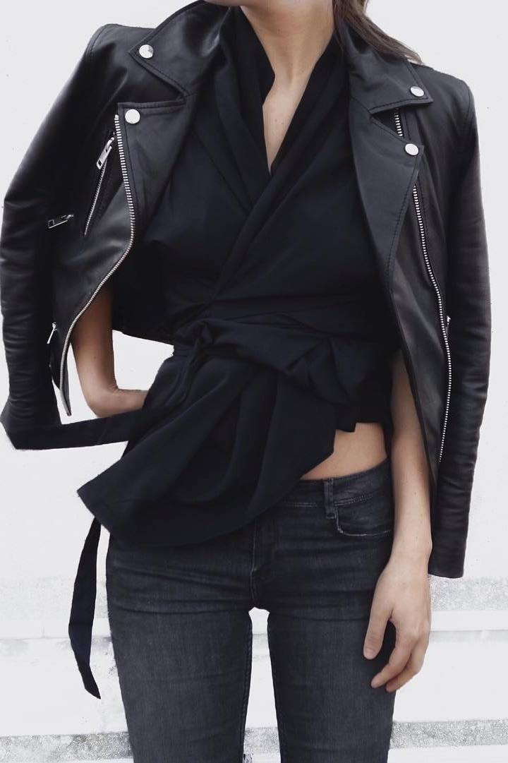 black on black: biker jacket + blouse + jeans