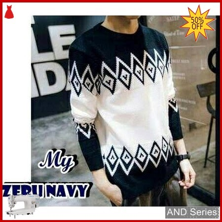AND212 Sweater Pria Zeru Biru Navy Tribal BMGShop