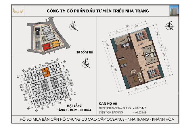 Sơ đồ căn hộ số 08 tòa OC2A Viễn Triều Nha Trang