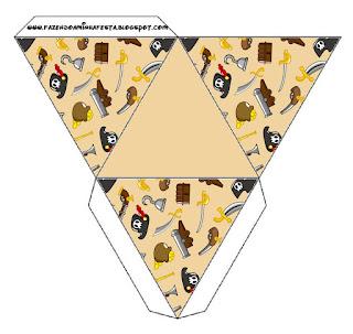 Pirate Party Free Printable Pyramid Box.