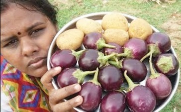 Cooking Brinjal/Potato Masala Fry in My Village – Simple Recipe