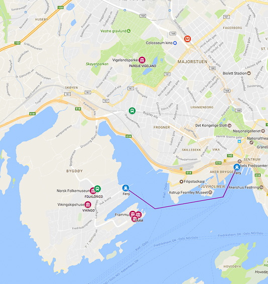 Mapa recorrido Isla museos y Vigelan Oslo