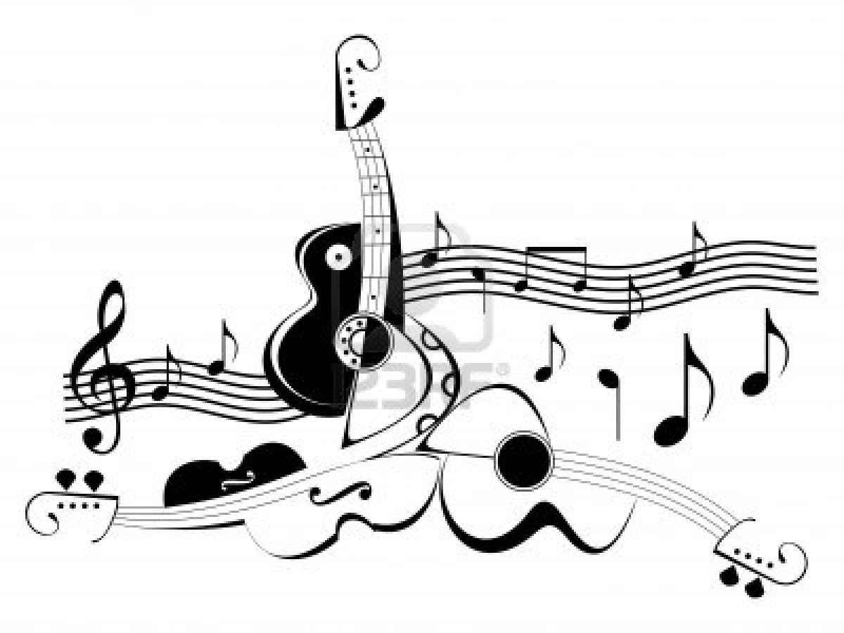 music instruments clipart black and white - photo #33