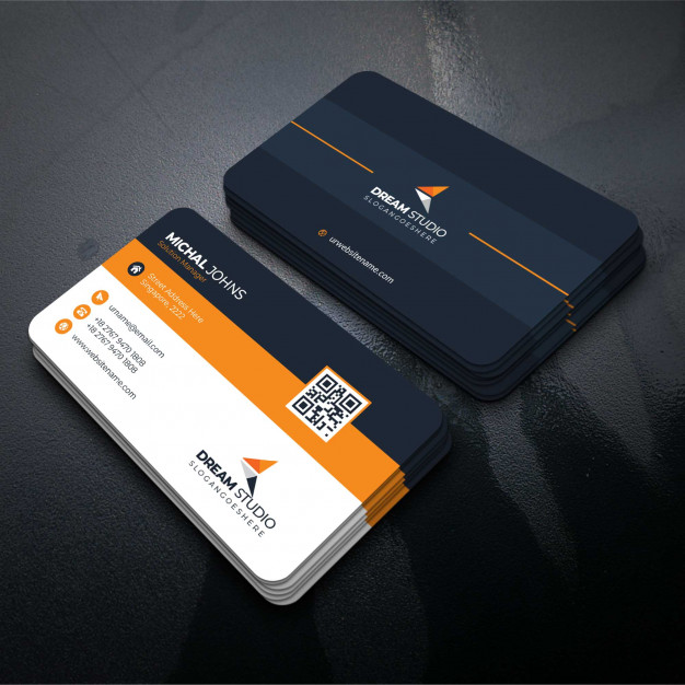 business card vector ai Orange shape visit card Free Vector