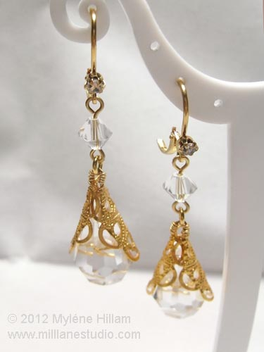 Elegant gold filigree and clear crystal briolette earrings