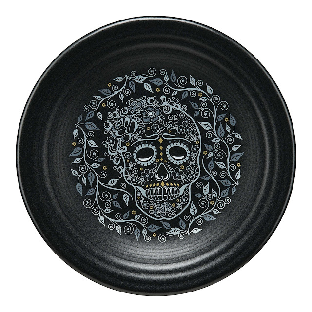 fiesta carries halloween dinner plates luncheon plates appetizer plates mugs and even a halloween skeleton ramekin