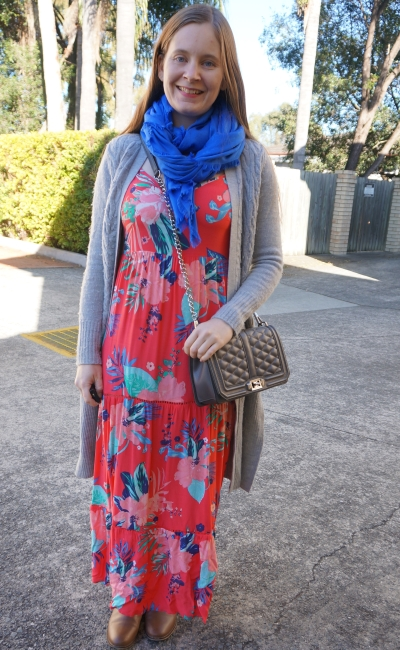 grey maxi cardigan, tropical tiered summer sundress in winter scarf ankle boots | away from blue