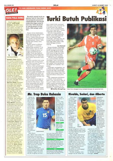 MENJELANG PIALA DUNIA 2002: TURKI BUTUH PUBLIKASI