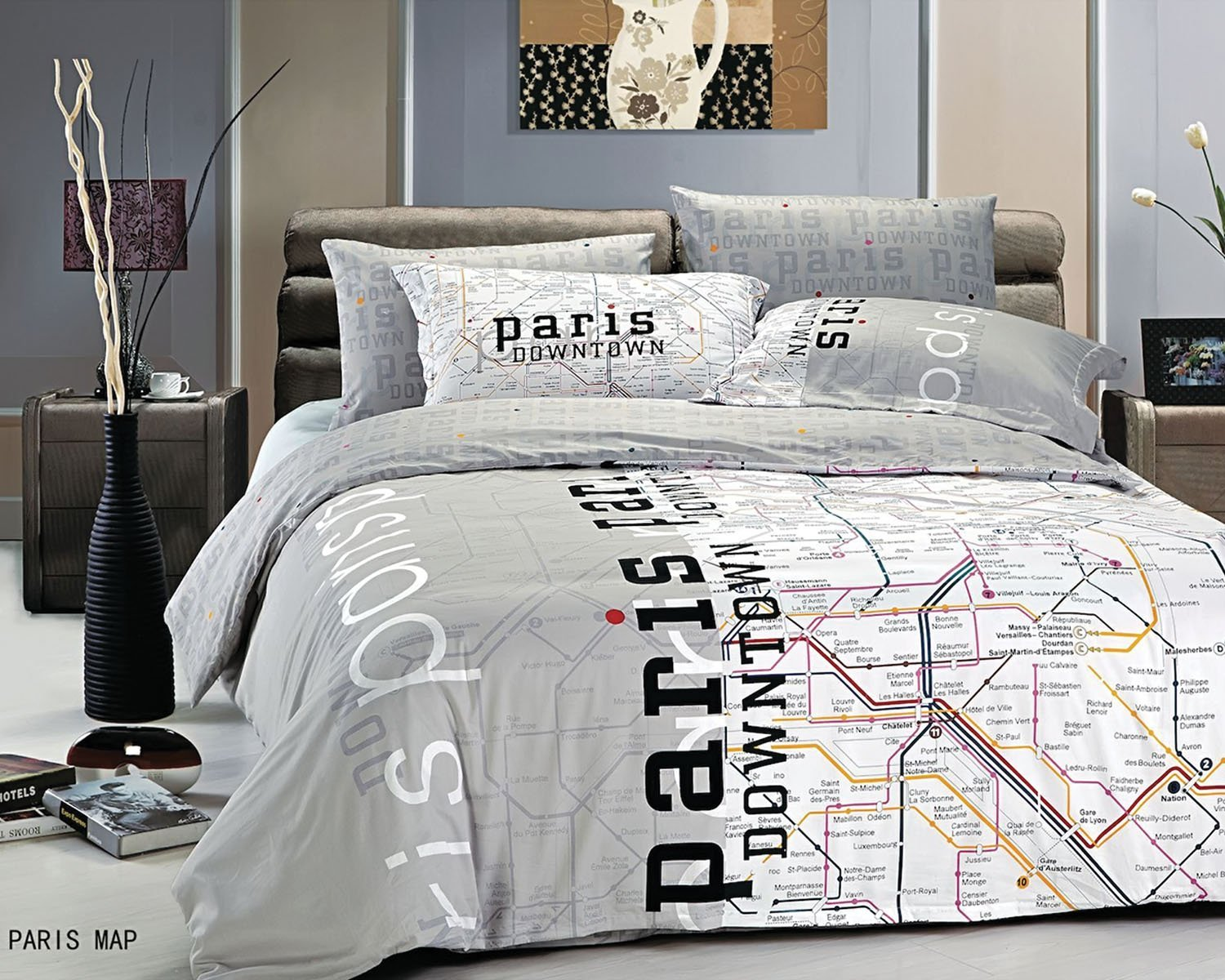 Paris eiffel tower themed bedding for less for Bed settings