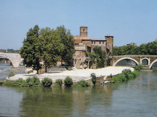 The Isola Tiberina adjoins the Trastevere district