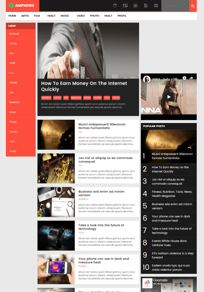 AMPNEWS Best Free AMP Blogger Templates