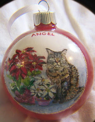 Cat with Poinsettias, Christmas Ornament