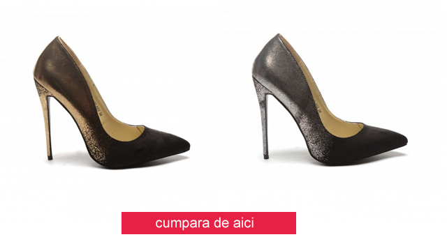 Pantofi eleganti argintii, aurii cu toc inalt ieftini la moda