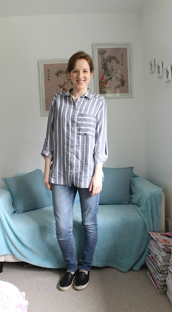 Primark, Haul, Spring Haul, Fashion Haul, Primark Haul, Blue Shirt, Shirt, Laundered Shirt, Linen Shirt, Summer Shirt, Blue Shirt with White Stripes, Primark Shirt