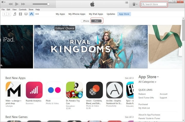 Home page App Store di PC pada iTunes