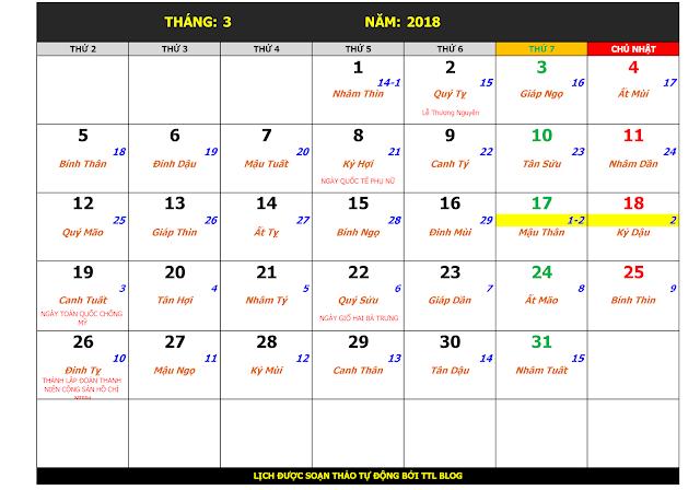 Lịch Vạn Sự Năm 2018 Tháng 3