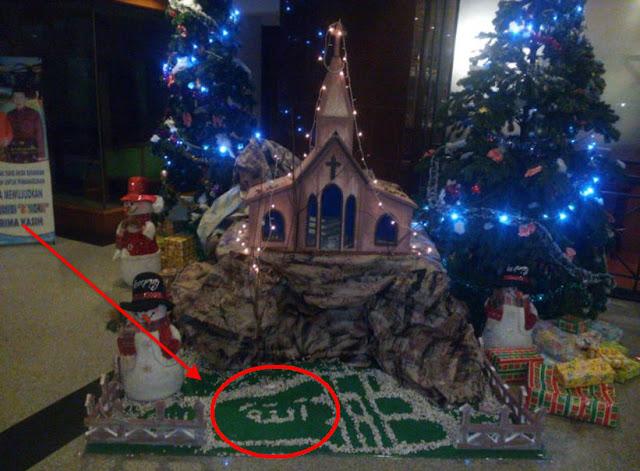 Ada Tulisan Arab Lafadz ALLAH Diletakkan di Lantai Hiasan Natal Hotel Novita Jambi