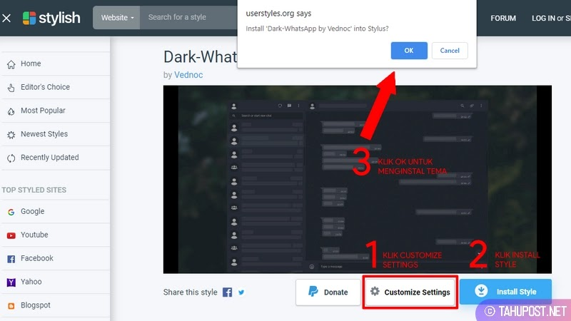 Tema Dark Mode WhatsApp Web by Vednoc