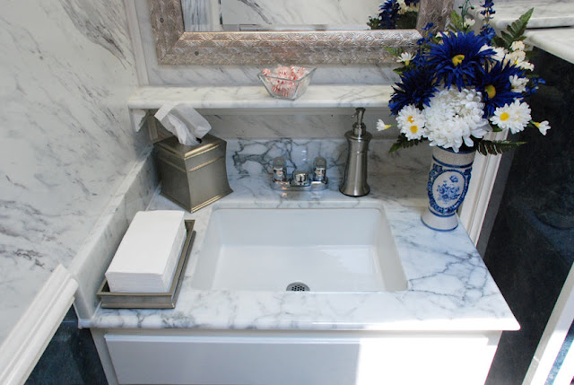 Elegant Restroom Trailers: Vanity area of 'The Atlantic' Bathroom Trailer