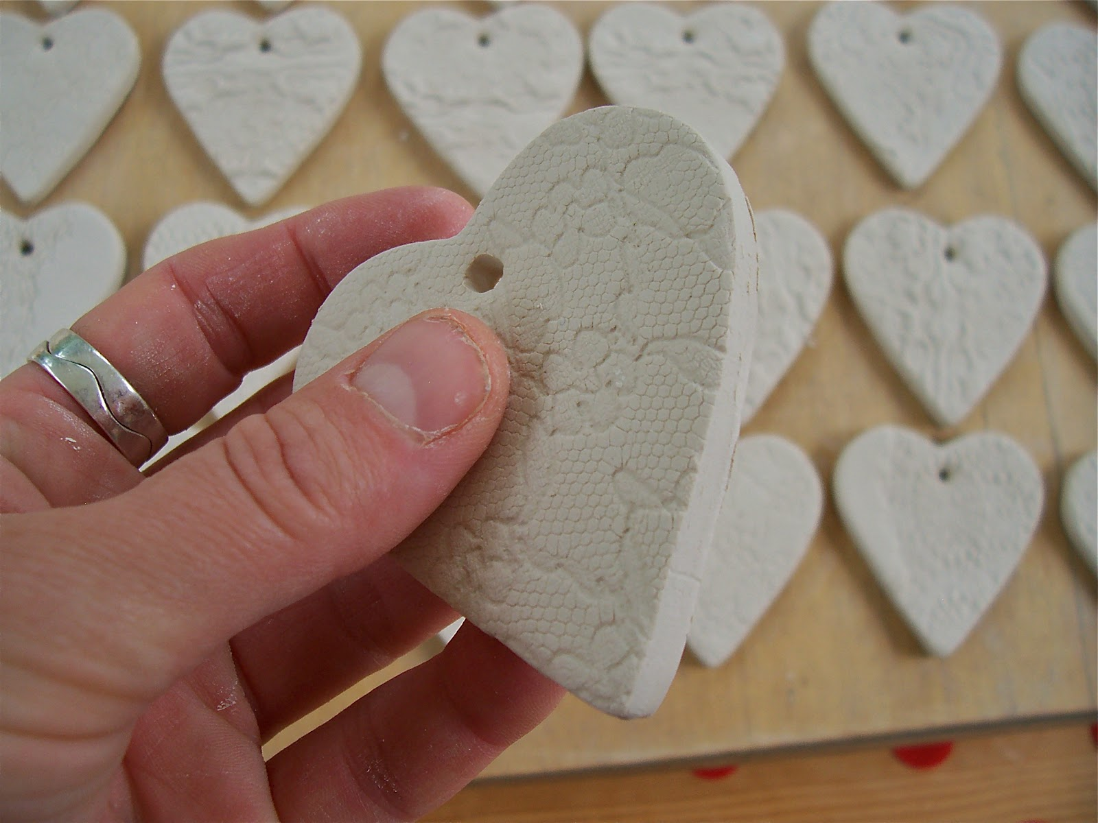 First Of All I Cut Out The Hearts With A Cookie Cutter And Impressed Half Them Lace Over Whole Heart