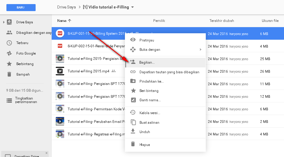 cara share file google drive