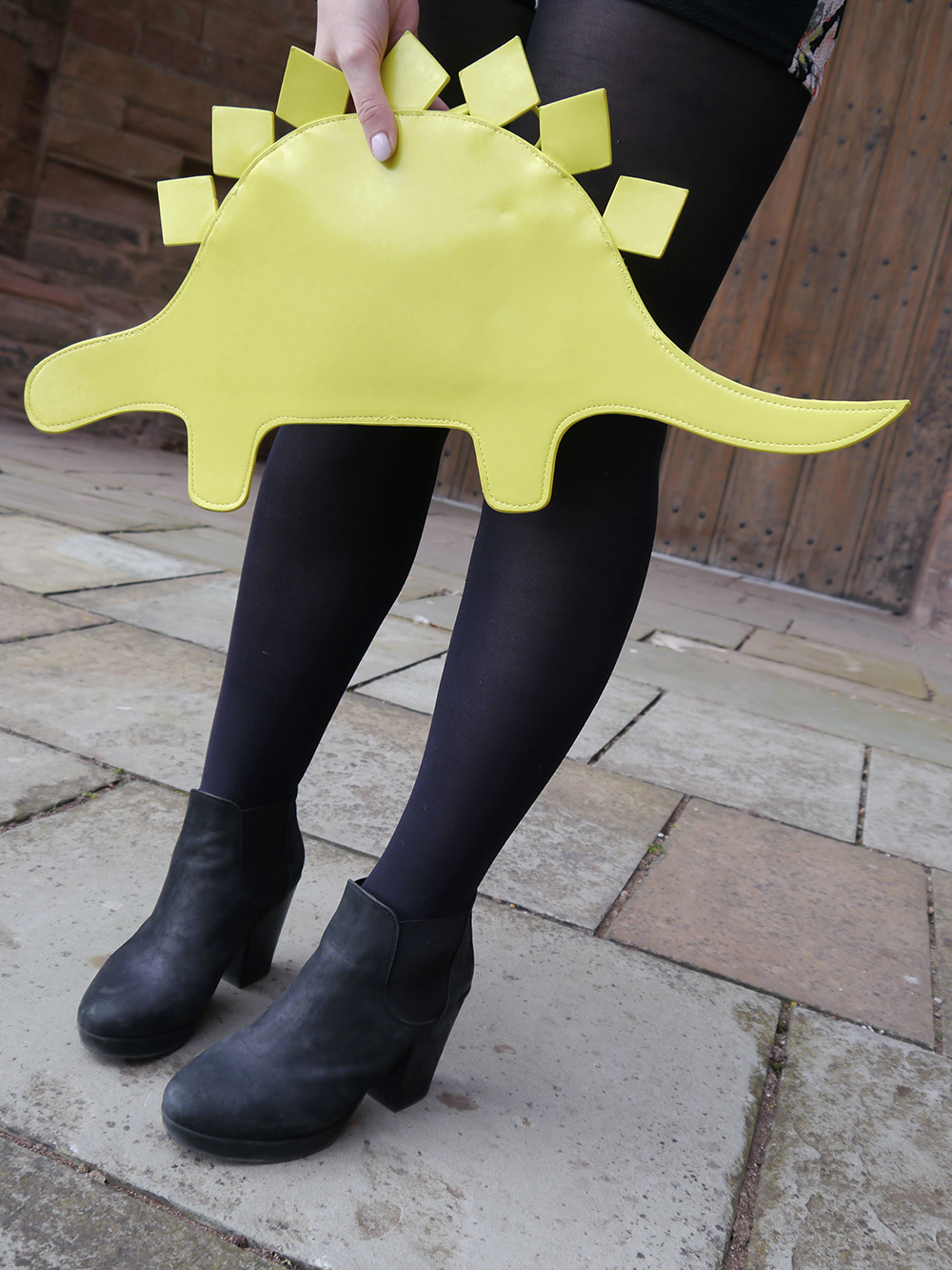 neone yellow handbag, The White Pepper novelty bag, Arbroath Abbey fashion photoshoot, black suede heeled Topshop boots, blogger favourite