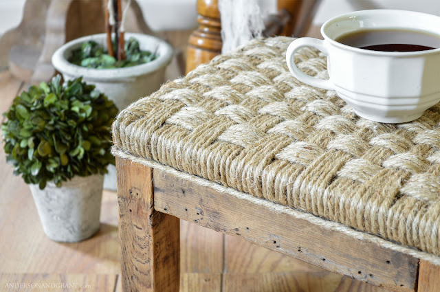 A unique way to dress up a wood footstool is to wrap it in jute twine for a rustic, farmhouse look.  |  Tutorial found at www.andersonandgrant.com
