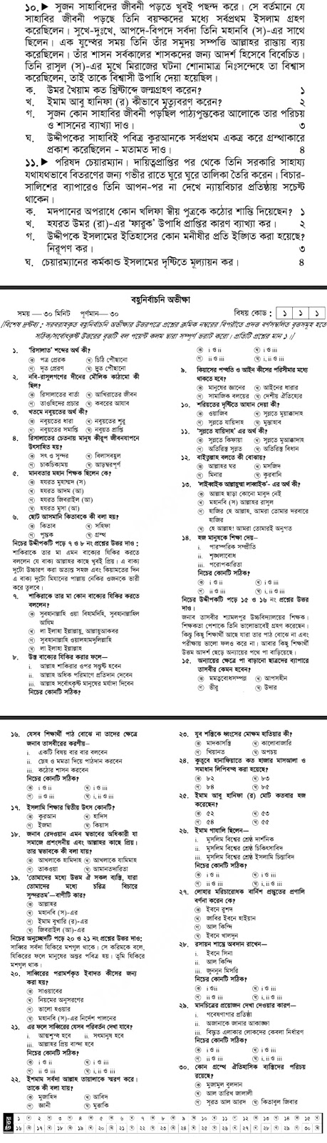 SSC Islam and moral Education Model Questio