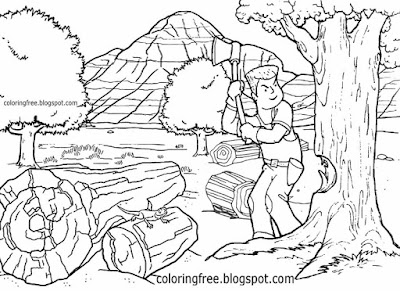 Canadian lumber cutting tree coloring book pages North America forest drawing Canada wood industry
