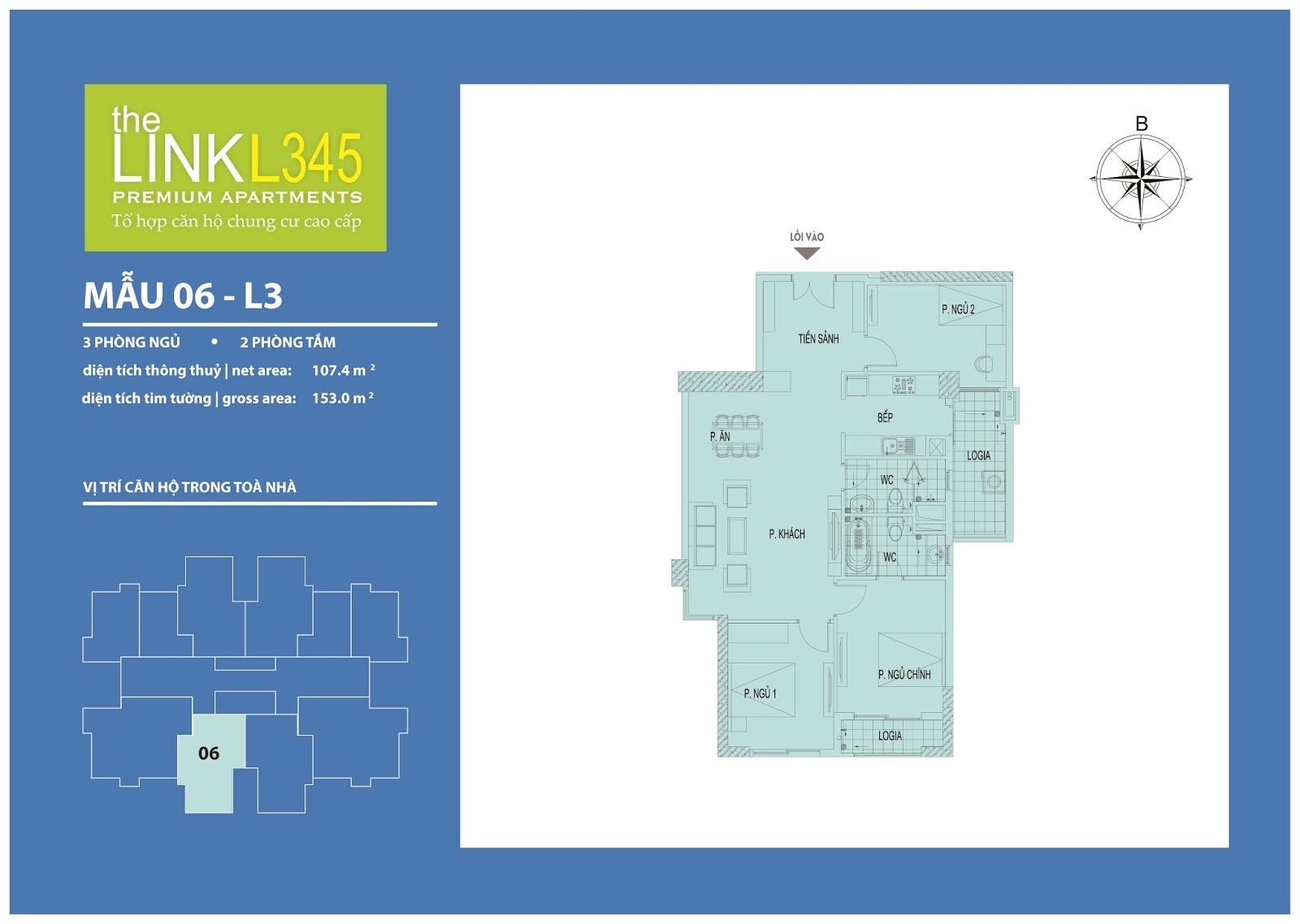 Mặt bằng chi tiết căn hộ 06 - L3 The Link Ciputra