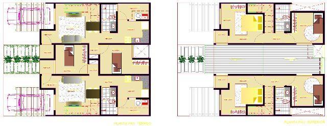Casas de 3 quartos méio de quadra-plantas.