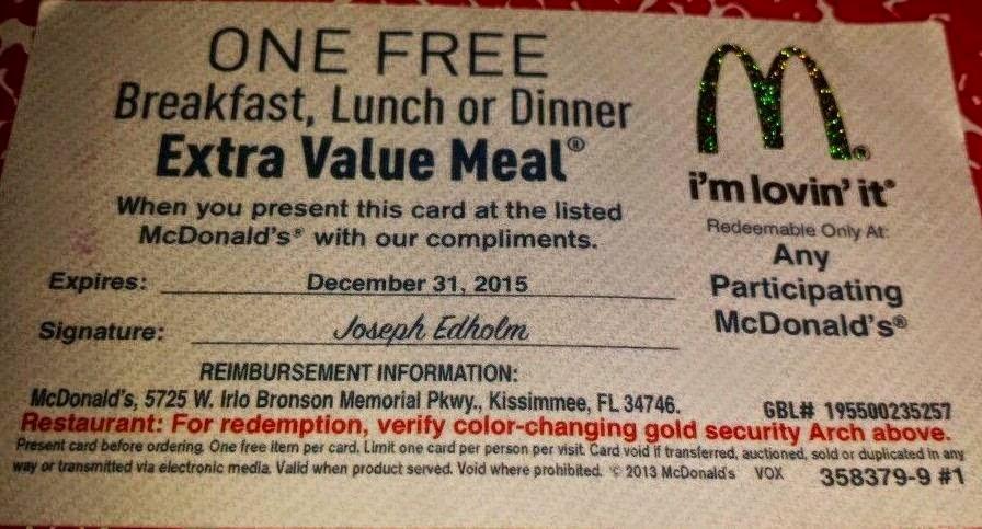 Macdonalds code / Old navy coupona
