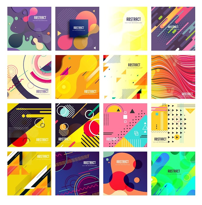 Abstract background templates collection colorful modern flat decor Free vector