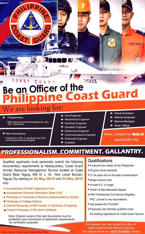 Philippine Coast Job Vacancies 2019 #Recruitment #PCG #Officer