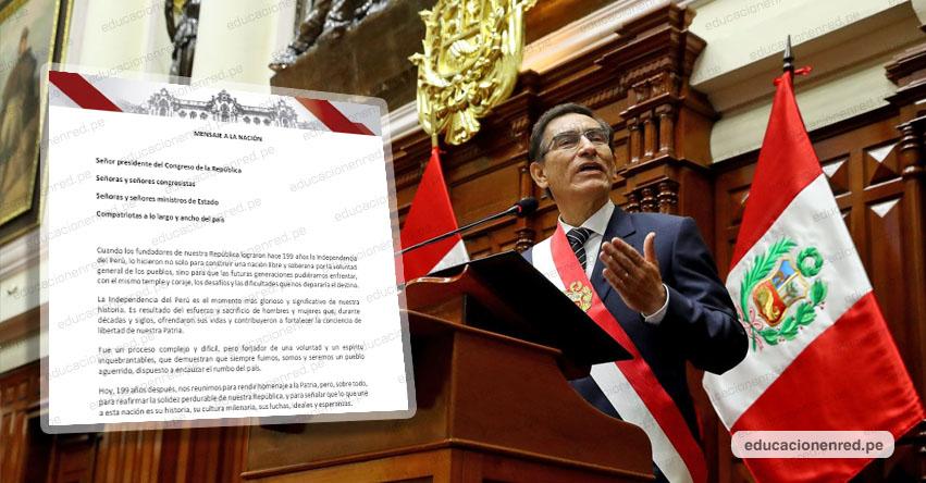 MENSAJE A LA NACIÓN: Texto Completo del Mensaje Presidencial (28 Julio 2020) Martín Vizcarra Cornejo - DESCARGAR .PDF - www.presidencia.gob.pe