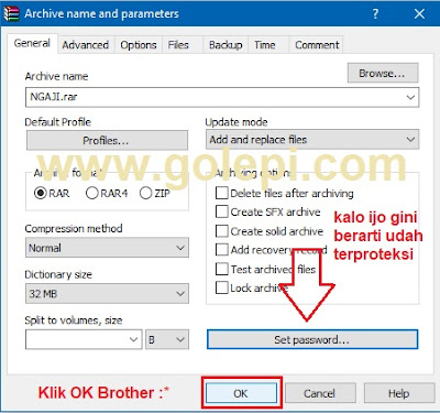 Cara Memberi Password pada WinRar - OK