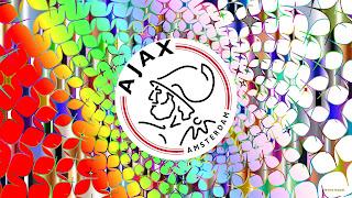 Kleurrijke Ajax Amsterdam achtergrond met sterren en klein logo in het midden.